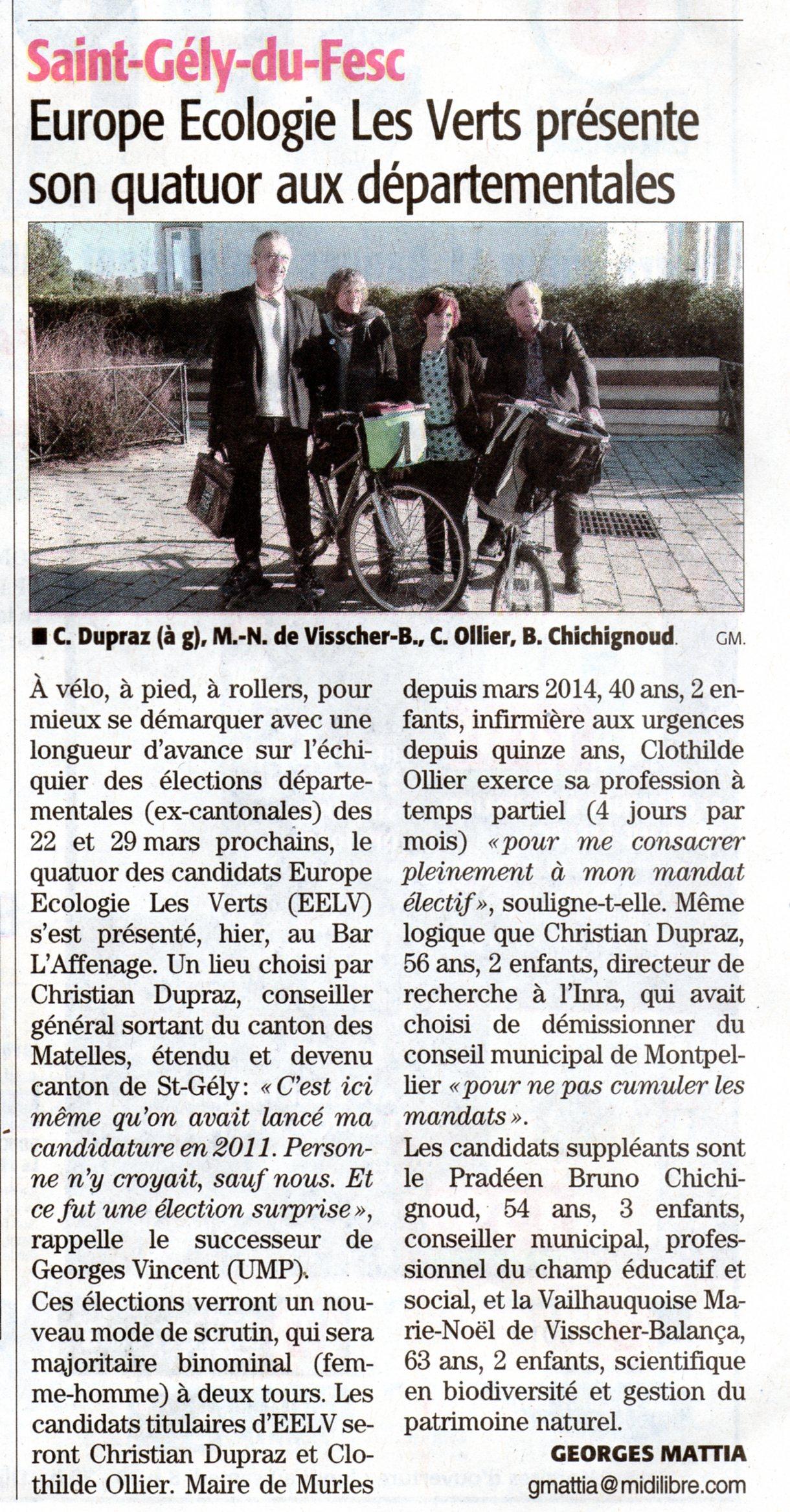 Midilibre 13 01 2015 Lancement campagne EELV SaintGely