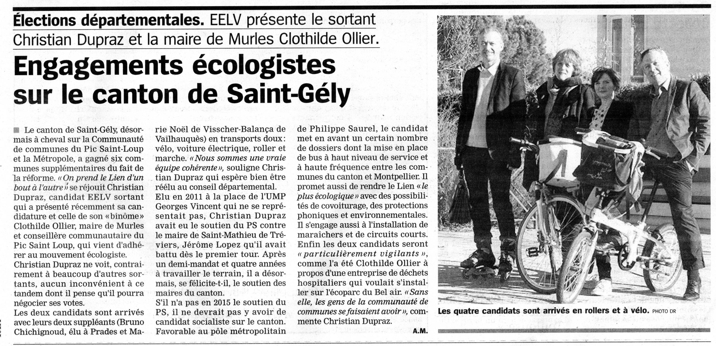 HDJ 14 01 2015 Lancement campagne EELV Saint-Gely